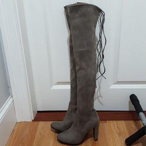 Stuart Weitzman gray highline tie back suede boot